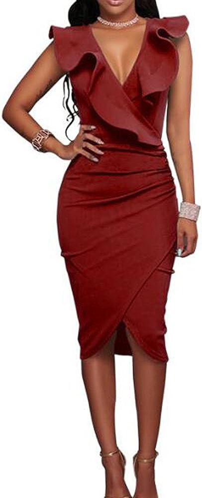 TALLA S. Hibote Vestidos a Media Pierna con Volantes sin Mangas de la Fiesta de Las Mujeres Vino Rojo S