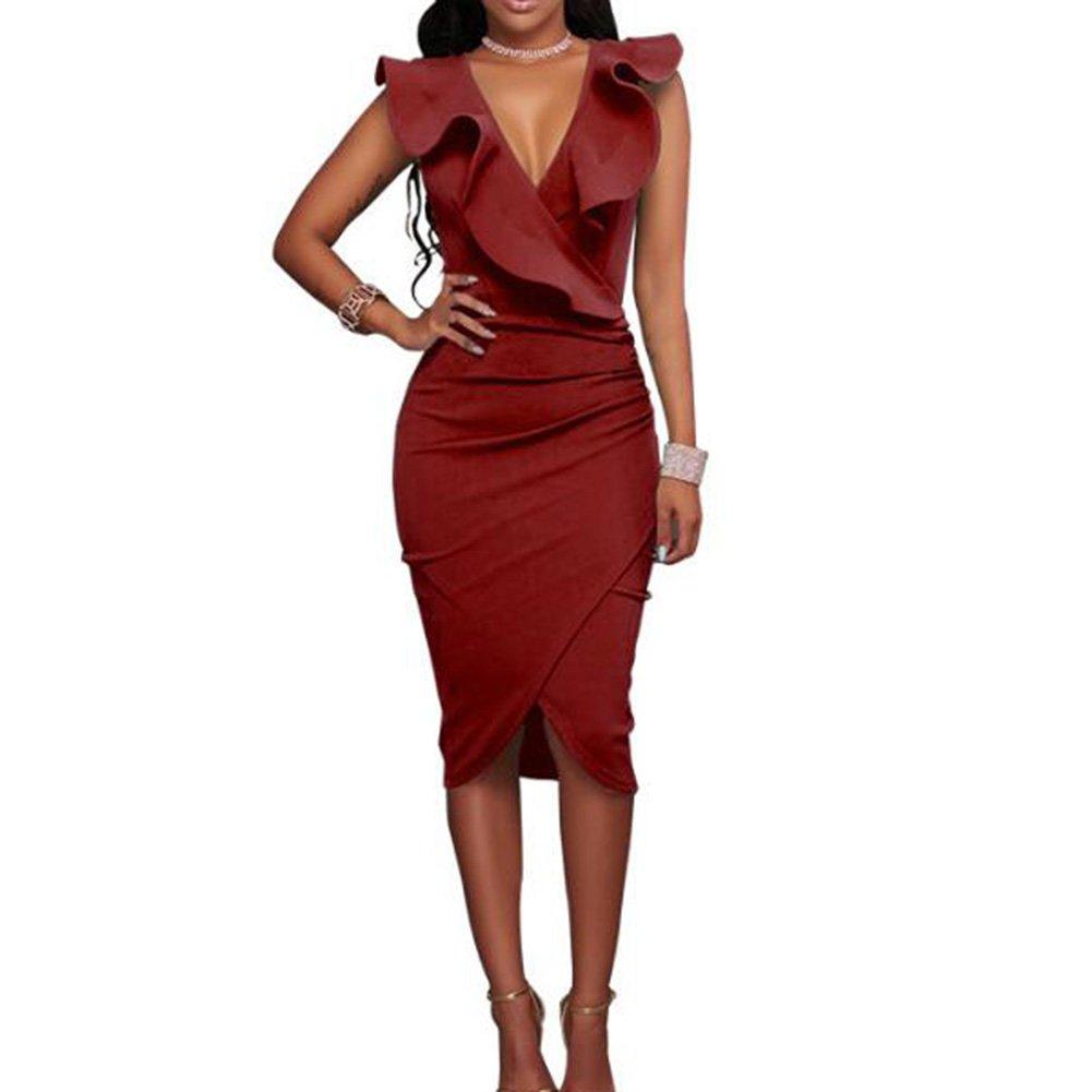 TALLA XL. Hibote Vestidos a Media Pierna con Volantes sin Mangas de la Fiesta de Las Mujeres Vino Rojo XL