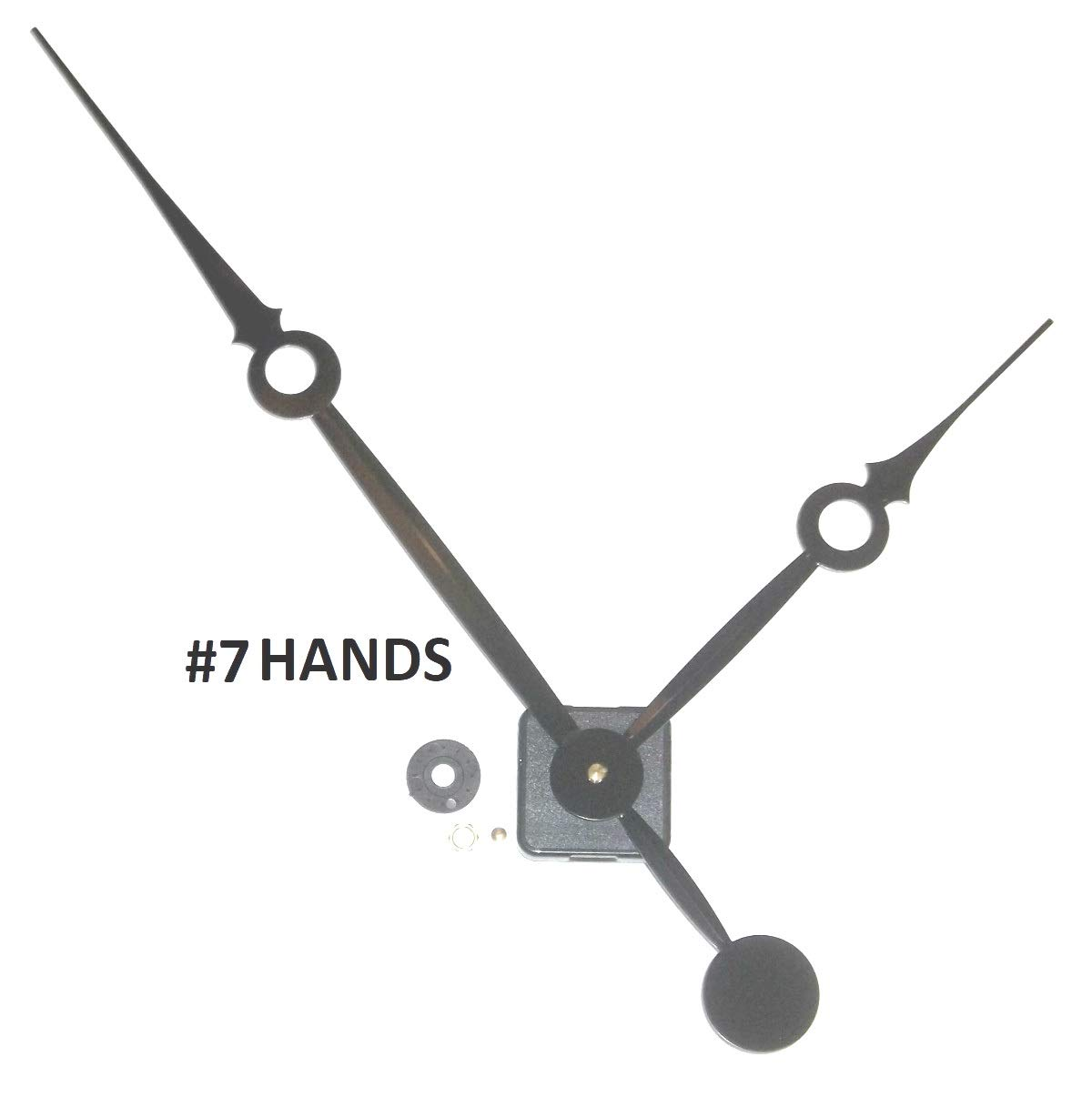 High Torque Clock Movement (Silent Sweep) Extended Shaft with 14 in. Long Balanced Black Fancy Sword Hands (No7)