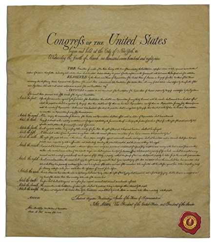 The Bill Of Rights  Authentic Replica Printed On Antiqued Genuine Parchment  14 X 16