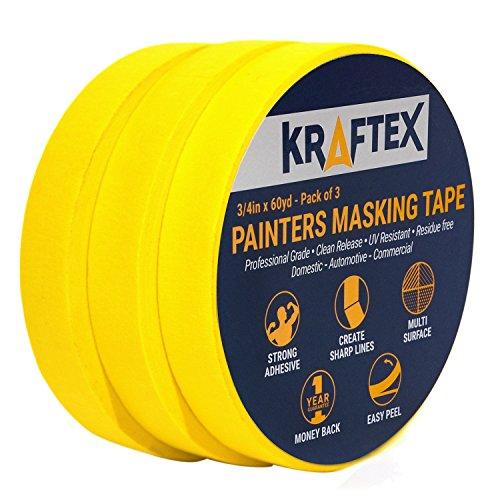 Painters Tape 180YRD x ¾ Inch for Pro Painting [CLEAN LINES EVERYTIME] 3 x 60YRD Rolls. Masking for Paint, Wallpaper, Wood, Glass, Metal. Protect Walls, Surface, Trim. Yellow Paper Tape, Prevent Stain