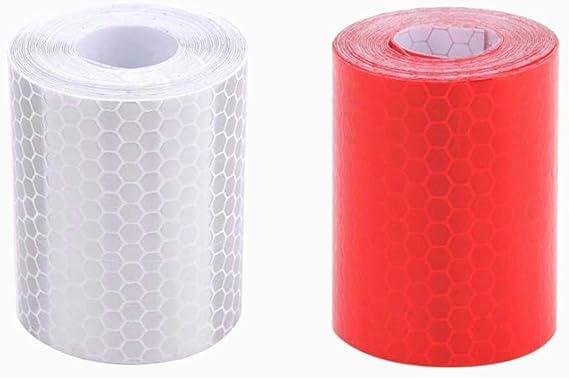 Rojo Blanco Honeycomb bandas reflectantes impermeable auto-remolque cinta reflectante cinta reflectante para remolques de camiones alarma de coche cinta de precaución 2 piezas, 5 cm * 3m: Amazon.es: Bebé