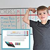 Dry Erase Whiteboard Decal Set [2 Large Wall Vinyl Decals/Fridge Stickers, 8 Marker pens, 10 Washi Tapes] Easy to Wipe Clean | Home or Office Wall Calendar, Monthly Planner, Weekly Kitchen Organizer