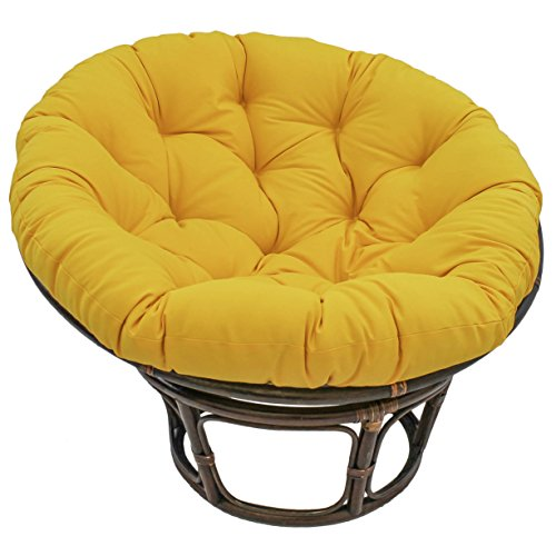 International Caravan 3312-TW-SS-IC Furniture Piece 42-Inch Rattan Papasan Chair with Solid Twill Cushion
