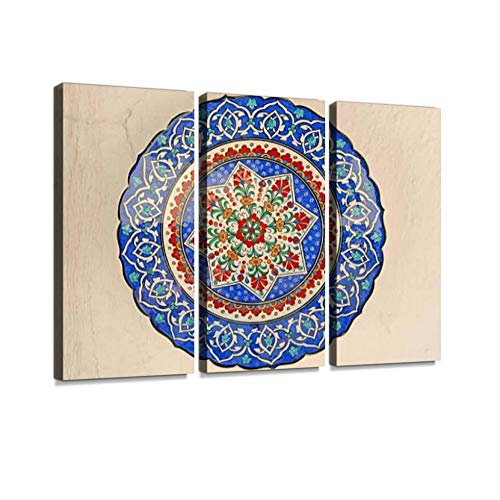 (Ottoman Motifs Print On Canvas Wall Artwork Modern Photography Home Decor Unique Pattern Stretched and Framed 3 Piece)