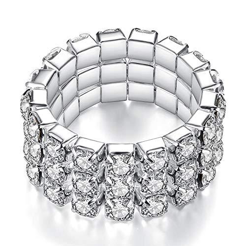 Pashal Three Row Multi Stone Adjustable Stretch Scallop Setting Stretch Elastic Cocktail Ring (Silver - Diamond)