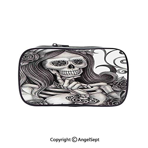 Cute Pencil Case - High Capacity,Sexy Skull Girl with Floral Veil Ceremony Day of The Dead Bride Skeleton Lady Art Grey White 5.1inches,Multifunction Cosmetic Makeup Bag,Perfect Holder for Pencils an