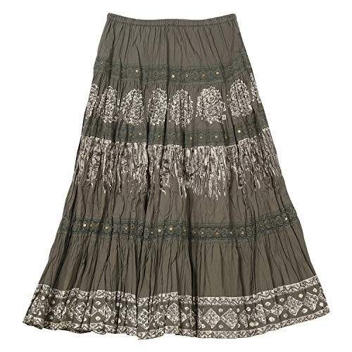 CATALOG CLASSICS Women's Tiered Peasant Skirt - Olive Green Broomstick Maxi - Small by CATALOG CLASSICS (Image #1)