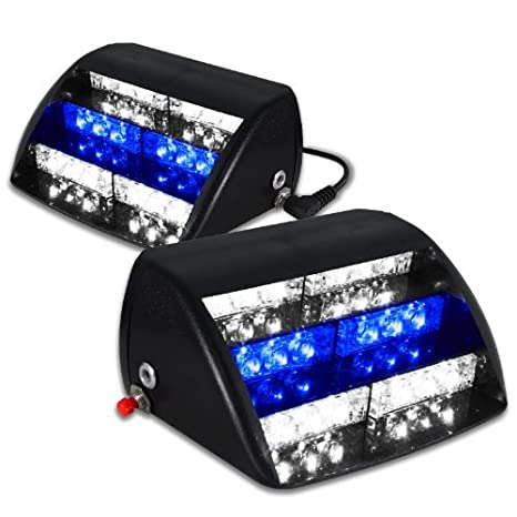 F /& B LED LIGHTS 2072CLW194 Red White 18 LED Emergency Vehicle Windshield Strobe Dash Warning Light
