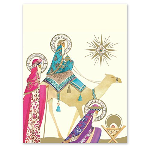 (Three Wise Men Personalized Christmas Greeting Cards – 4⅛ inches x 5½ inches, Heavyweight Stock, Matching Envelopes, (Set of 20), by Fine Stationery)