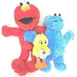 Sesame Street Elmo, Cookie Monster, Big Bird 3 Plush Doll Set 6 -14 Inches