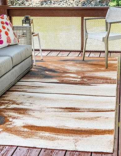 Unique Loom Outdoor Modern Collection Over-Dyed Rustic Abstract Transitional Indoor and Outdoor Flatweave Brown Area Rug 10' 0 x 12' 0