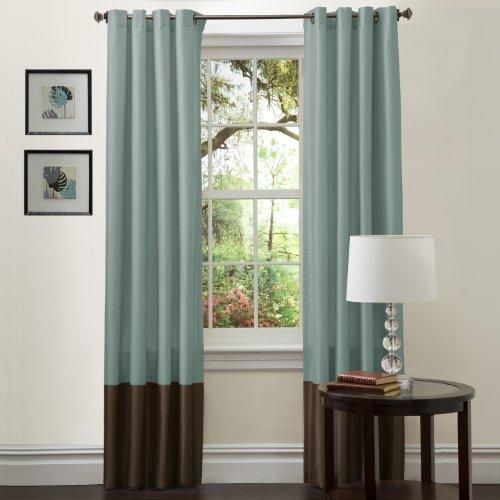 Lush Decor Prima Window Curtain Panel Pair, 84 Inch X 54 Inch Blue/Chocolate,  Set Of 2