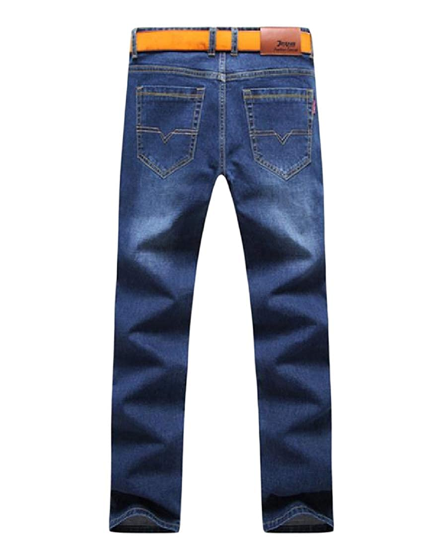 Abetteric Men Slim Straight-Fit Casual Loose Washed Stretch Stylish Jeans