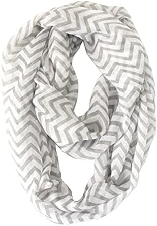 Vivian & Vincent Soft Light Weight Zig Zag Chevron Sheer Infinity Scarf (Airy Gray)
