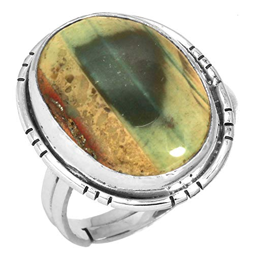 Solid 925 Sterling Silver Handcrafted Jewelry Natural Royal Imperial Jasper (Mexico) Gemstone Adjustable Ring Size 8 ()