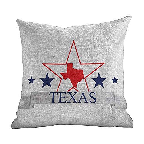 Hidden Zippered Pillowcase Texas Star,San Antonio Dallas Houston Austin Map with Stars Pattern USA,Navy Blue Vermilion Pale Grey,for Sofa Bed (only Pillowcase,No Pillow) 18