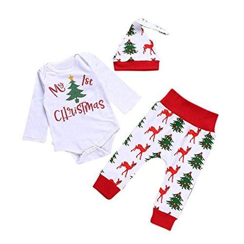 3pcs Baby Girls Christmas Suit Romper + Hat +Pants - 3
