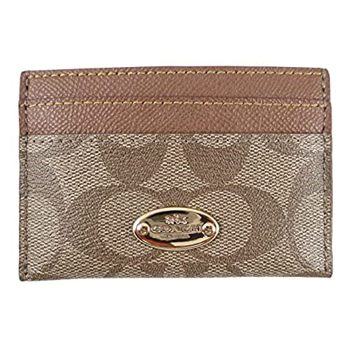Coach business card holder amazon coach signature pvc card case khaki saddle f63279imbdx colourmoves