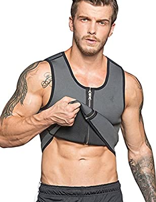 NonEcho Men Sauna Sweat Vest Weight Loss Waist Trainer Vest Neoprene Tank Top Shapewear Slimming Shirt Workout Suit from NonEcho
