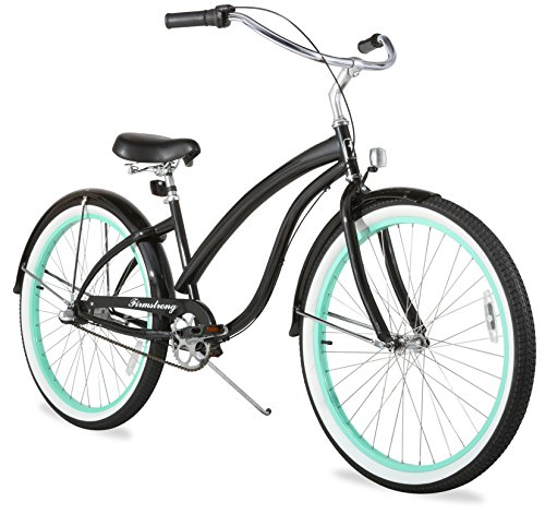 Firmstrong Bella Fashionista Three Speed Beach Cruiser Bicycle, 26-Inch, Gloss Black/ Green Rim