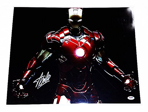 AUTOGRAPHED Stan Lee (Marvel Creator) IRON MAN Super Hero Holofoil Signed 16X20 Glossy Comic Book Photo with PSA / DNA COA