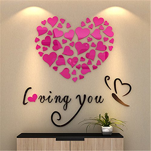 OTTATAT Wall Stickers for Bedroom Girls 2019,Love Heart DIY Removable Vinyl Decal Art Mural Wall Stickers Home Room Decor Easy to Stick Bridal Shower Club Gift for boy Free Deliver On Sale (Best Wedding Motif For 2019)