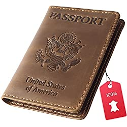 Rachiba Leather Passport Cover - USA Embossed Travel Document and Ticket Holder