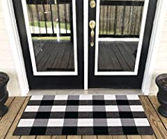 Levinis Buffalo Check Rug - Cotton Washable Porch Rugs Door Mat Hand-Woven Checkered Plaid Rug for...