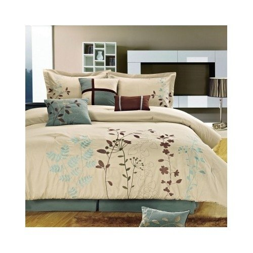 Price comparison product image Modern Comforter Floral Bedding Set Blue Brown Off White with Shams and Pillows (queen) Includes Scented Candle Tarts