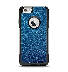 (OtterBox Case & Skin Bundle) The Blue Sparkly Glitter Ultra Metallic Apple iPhone 6 Otterbox Commuter White Case and Skin Set (White OtterBox Commuter Case Included!)