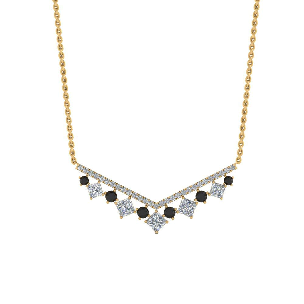 DTJEWELS 0.71Ct Princess Cut Black /& Sim Diamond V Necklace Pendant W//18 Chain 14K Gold Plated 925