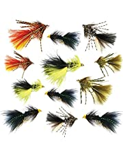 Thor Outdoor Woolly Bugger Streamer Fly - 12 Pc Assortment - Hook Size #8 and #10 - Legged Fire Tiger, Olive, Tan, Black Yellow, Black Flash - Bass, Panfish, Trout Fishing Kit