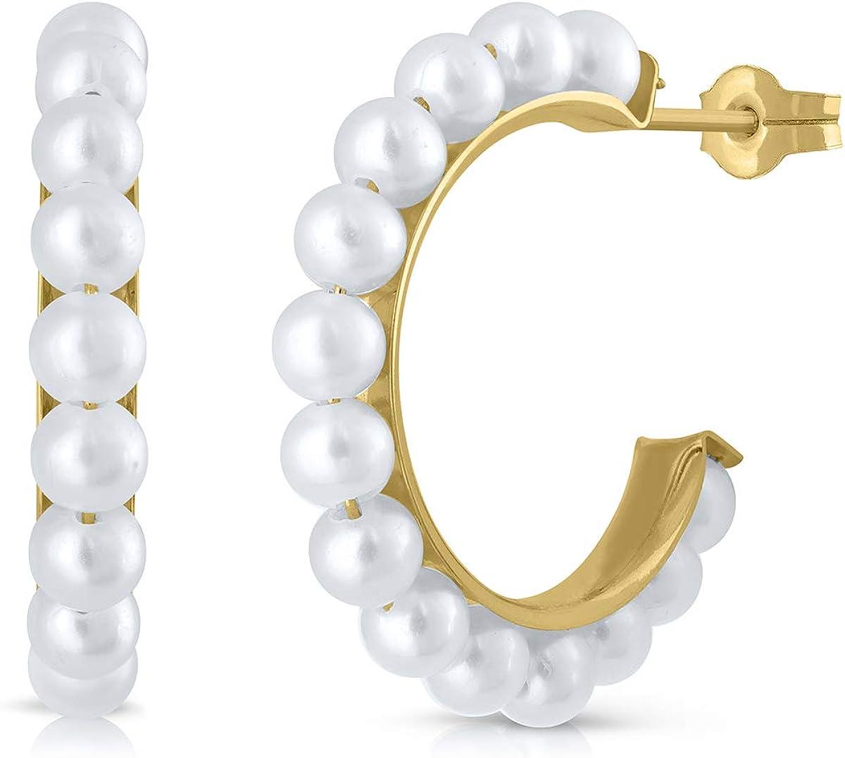 Pendientes oro 18k niña o mujer, aros argolla con perla cultivada de calidad, coral o turquesa. Medida de la joya 15 milímetros y cierre de presión, Elija su diseño preferido.