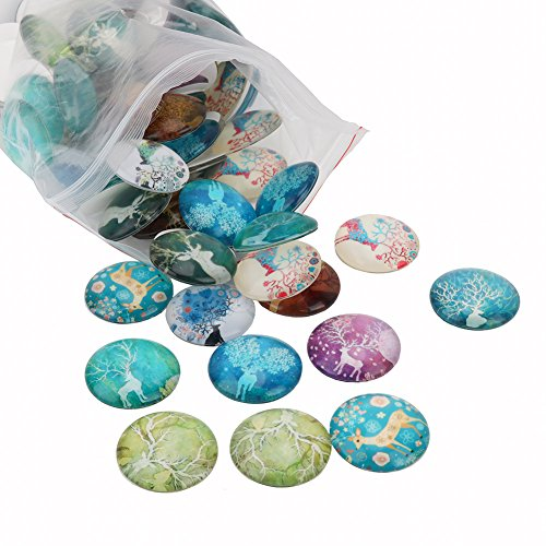 Yarssir 100PCS 25mm Round Shaped Color Printed Mixed Style Deer Elk Pattern Glass Photo Stone - Half Round/Dome Cabochons for Craft Jewelry Making (Elk)