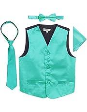Gioberti 4 PC Set Big Boys Formal Tuxedo Suit Vest, Bowtie, Tie, Pocket Square