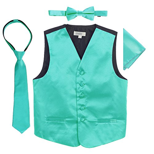 Gioberti Boys 4pc Satin Formal Vest Set, Mint, -