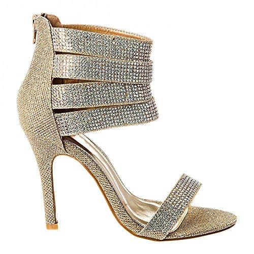 Dorado Miss Zapatos Mujer Tacón Con Diva rXx07r