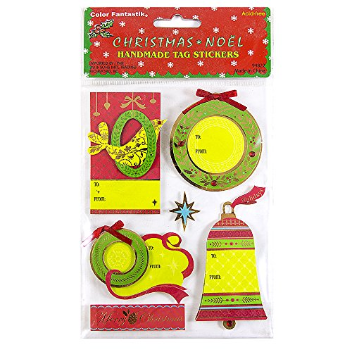JAM PAPER Handmade to/from Christmas Gift Tag Stickers - Green Wreaths - 5 Labels/Pack