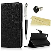 Huawei Y6 Scale Wallet Case - Mavis's Diary Premium PU Leather with Magnetic Clasp and Card Holders Flip Cover for Huawei Y6 Scale with Black Diamond Dust Plug & Bling Crystal Pen (Black)