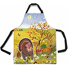 InterestPrint Adjustable Bib Apron for Women Men Girls Chef with Pockets, Turkey Autumn Happy Thanksgiving Scenery Harvest Novelty Kitchen Apron for Cooking Baking Gardening Pet Grooming Cleaning