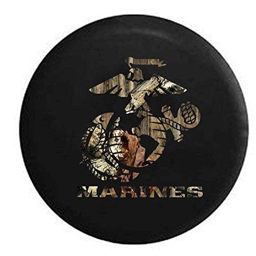 (Pike Camo - US Marines Eagle Globe Anchor Crest USMC Semper Fi Trailer RV Spare Tire Cover OEM Vinyl Black 33 in)