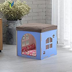 Changing shoes stool Cat litter [house] Cat bed The villa The dog house Home Multifunction-Blue 424041cm