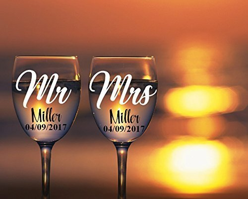 Mr and Mrs Wine Glass Decals. Customize the color, last name, and date. Perfect for your wine glasses, flasks, Yeti cups, wedding gift, anniversary gifts, etc. Glass Not Included