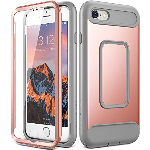 iPhone 8 Case, iPhone 7 Case, YOUMAKER Full Body Heavy Duty Protection Shockproof Slim Fit Case Cover for New Apple iPhone 8 4.7 inch (2017) / iPhone 7 with Built-in Screen Protector (Rose Gold/Gray)