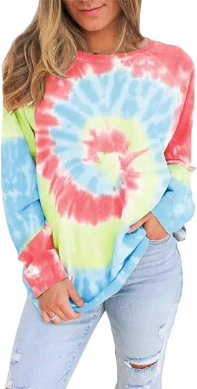 Mujer Sudadera Teñido Pullover Camisa Multicolor Camiseta de Manga Larga: Amazon.es: Ropa y accesorios