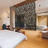 Wowye PVC Room Divider Kit,12PCS Free-Hanging Portable Panel Screens for Home Decor (Black)