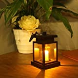 Solar Candle Light Tinpa Waterproof Solar Hanging Umbrella Lantern Outdoor LED Wireless Hanging Lamp LED Wireless  for Front Door, Yard, Garage, Deck, Porch, Shed, Walkway (Yellow Light)