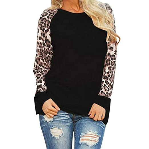 186f5359e1d8 Wobuoke Womens Solid Leopard Blouse Long Sleeve Fashion Ladies T-Shirt  Oversize Tops Tunics