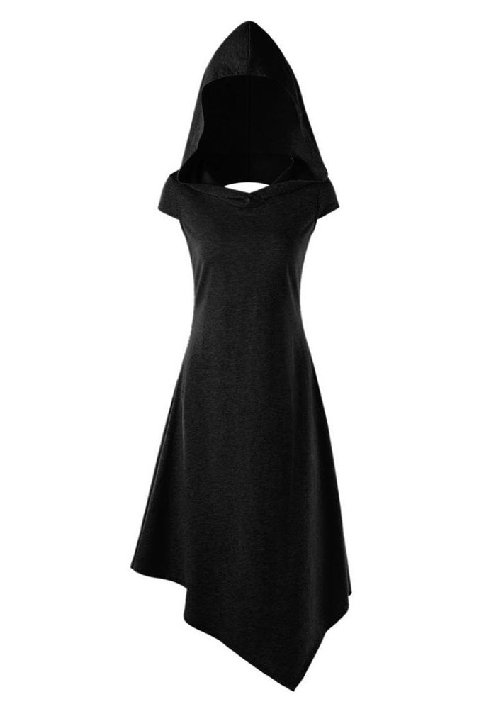 EastLife Womens Hooded Robe Lace up Vintage Pullover High Low Long Hoodie Dress (Large, Black 2)